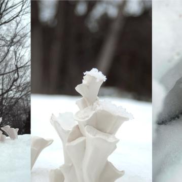 """Petits, sculptures de céramique, 7"""" X 4"""", 2013."""