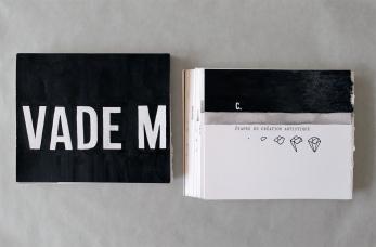 """Vade mecum, planches originales. Sérigraphie et médiums mixtes. Sérigraphie, encre, graphite et dactylo sur papier aquarelle. 5"""" X 6"""", 2013-2014."""