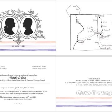 """Pages du faire-part de mariage, impression numérique sur papier 90 lbs, 4,5"""" X 6"""", 2014."""