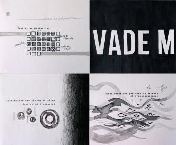 """Vade mecum, exemples de pages (50 au total). 5"""" X 5,5"""", 2013-2014."""