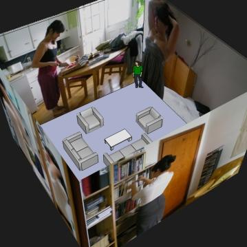 3 et demi, maquette d'une installation vidéo, 2011.