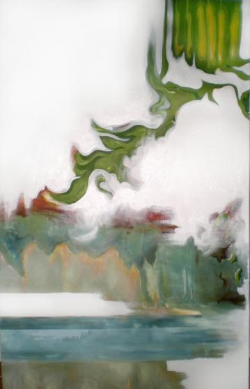 """Paysage revisité, acrylique sur toile, 40"""" X 30"""", 2005-2009."""
