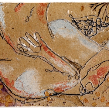 L'ébat, collagraphie, 2004.