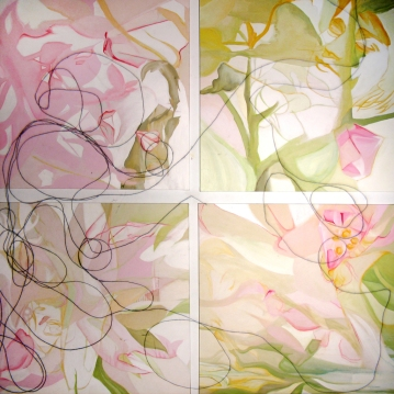 Les petits, acrylique sur toile et projection, 20' X 20' (4 toiles), 2006.