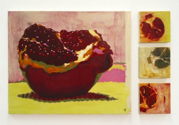 """Pomme ou grenade?, quadryptique, acrylique sur toile, 30"""" X 50"""", 2005."""