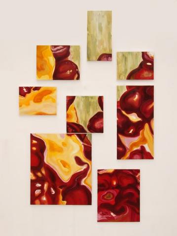 """Sans titre. Polyptique. Acrylique sur toile, 80"""" X 40"""", 2004."""