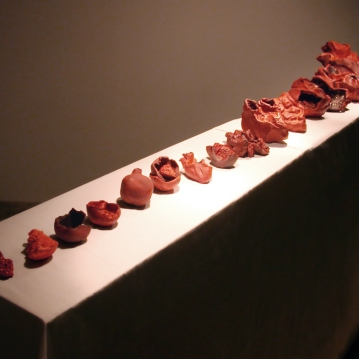 L'évolution du coeur, installation, céramique, 4' X 10' X 2', 2004.